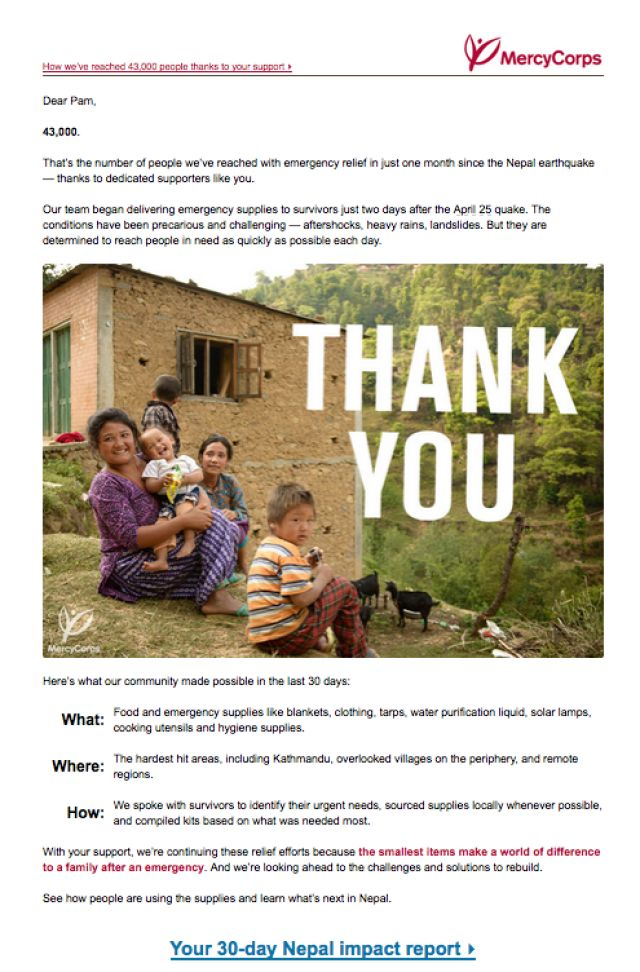 How to Thank a Donor by Email: MercyCorps Thanks Nepal Earthquake Donors