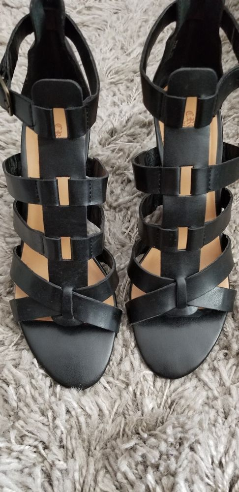 7be0583b5c083 CROWN VINTAGE Size 8.5 8 1 2 BLACK LEATHER CAGE GLADIATOR HEEL SANDALS   fashion  clothing  shoes  accessories  womensshoes  sandals (ebay link)