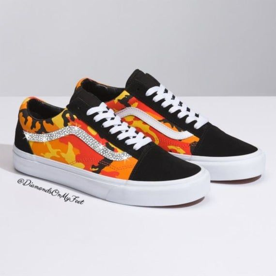 5728b6efc3c71 Swarovski Women's Vans Old Skool Orange Camouflage Low Shoes ...