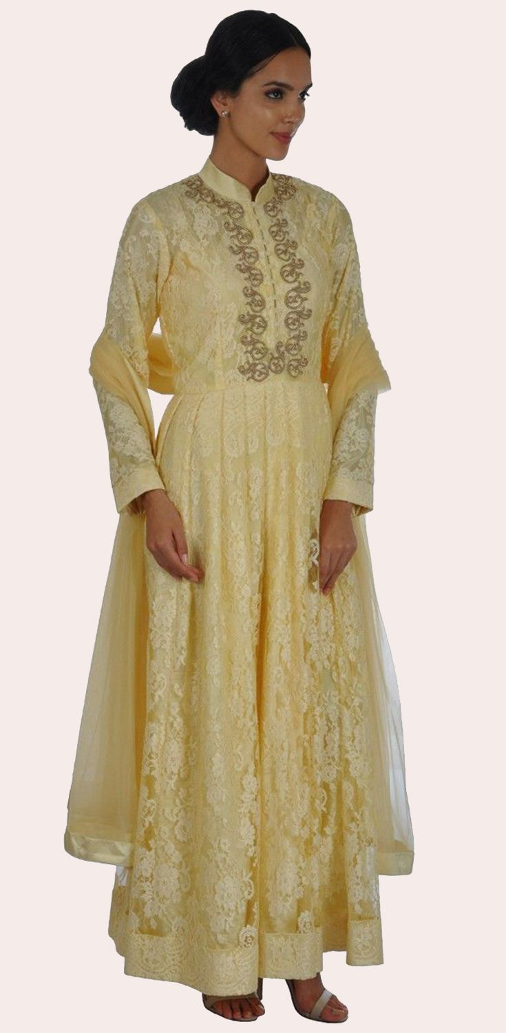 French Chantilly Lace Anarkali with Zardozi Hand Embroidery Suit