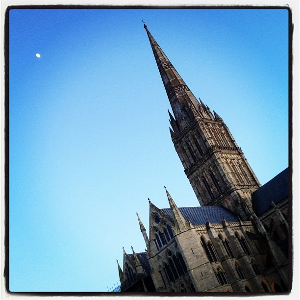 Salisbury Cathedral and the moon