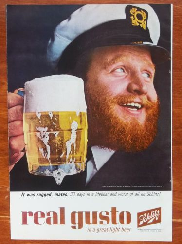 1965-Schlitz-Beer-33-Days-In-A-Lifeboat-With-No-Schlitz-Beer-Vintage-Print-Ad