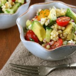 Avocado & Grilled Corn Salad with Cilantro Vinaigrette from Authentic Suburban Gourmet; one of the Top 10 Most-Pinned Recipes on Pinterest! | Feastie