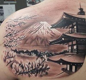 A very beautiful Japan Scenery tattoo on back with Fuji, Sakura tree and temple designs.