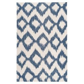 Hand-woven flatweave wool rug with a diamond motif.      Product: Rug    Construction Material: 100% Wool    Color: Mediterranean blue and winter white    Features: Hand-wovenFlatweaveMade in IndiaReversible          Note: Please be aware that actual colors may vary from those shown on your screen. Accent rugs may also not show the entire pattern that the corresponding area rugs have.Cleaning and Care: Blot stains