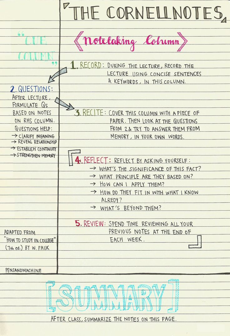 A Guide To Note Taking For Students  Microsoft Word Note Taking Template