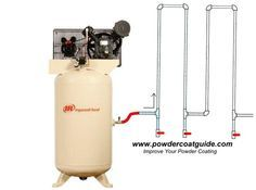 This diagram shows how to route your air compressor pipes in order to remove water from your air. Visit www.powdercoatguide.com for more info:
