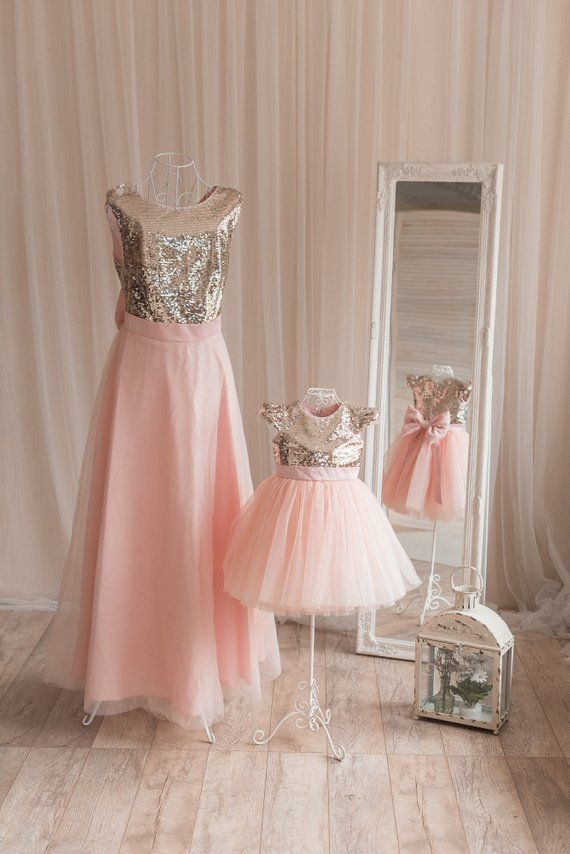 58d033f99 Gold sequin mother daughter matching tutu dress, sequin dresses for Mom and  baby, girls party dress, Mommy and Me dresses peach tulle dress | zoe |  Baby ...