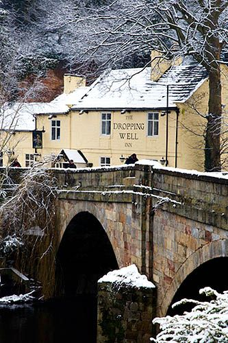The Dropping Well Inn in Winter Knaresborough North Yorkshire England. The largest of Yorkshire's four counties is also the most beautiful, if only because unlike the rest of northern England, mills and mines are nowhere to be found. Read more: http://www.lonelyplanet.com/england/yorkshire/north-yorkshire#ixzz3EDxUKoGZ