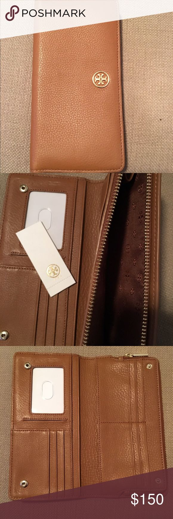 Tory Burch zip continental wallet Brand new Tory Burch Landon hidden zip continental wallet in bark color Tory Burch Bags Wallets