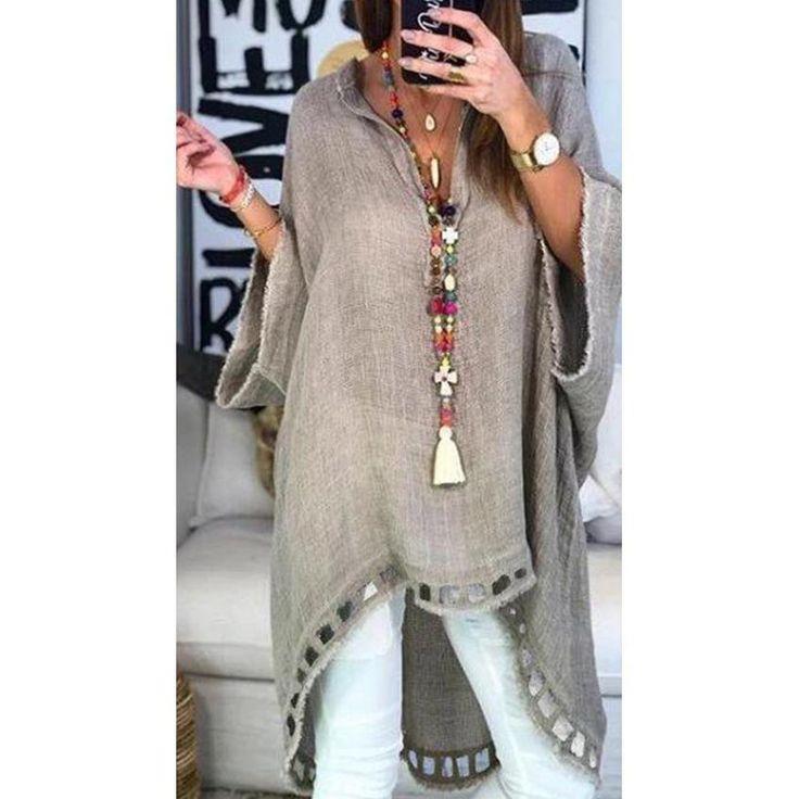 Knitted Short Sleeve V-Neck Loose Shirt