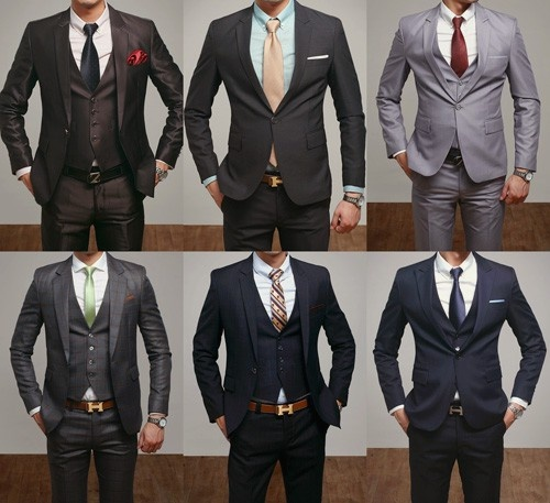 Groomsmen- colored shirts, grey or navy suits, possibly skip the vest or keep the vest and skip the jacket- just DITCH THE BLACK TUX