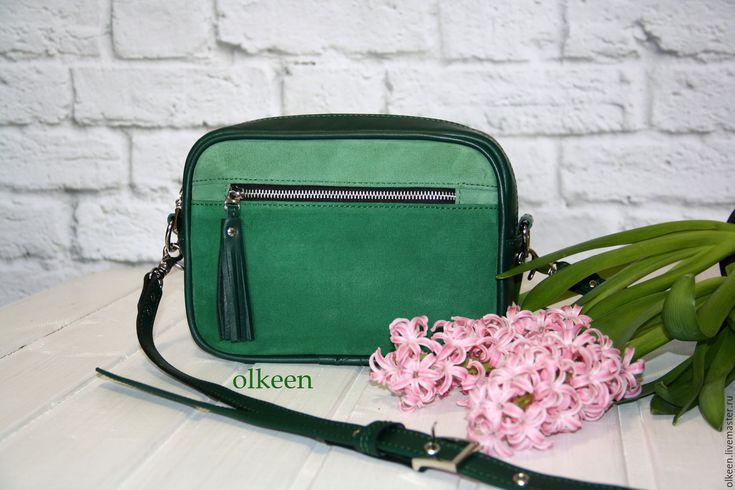 Купить Сумка- кроссбоди из натуральной кожи Kerry изумрудная - сумка, сумочка, сумка из натуральной кожи