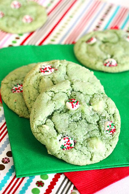 Buttermint Drop Cookies. 1 stick (1/2 cup) unsalted butter, softened 1 1/2 cups granulated sugar 1 1/2 cups light brown sugar 1 teaspoon salt 4 eggs Green food color, paste or liquid 2 teaspoons vanilla extract 1/2 teaspoon peppermint extract 1 teaspoon baking powder 1 teaspoon baking soda 4 cups all purpose flour 12 ounce bag Guittard Smooth Melty Petite Mint Chips, divided
