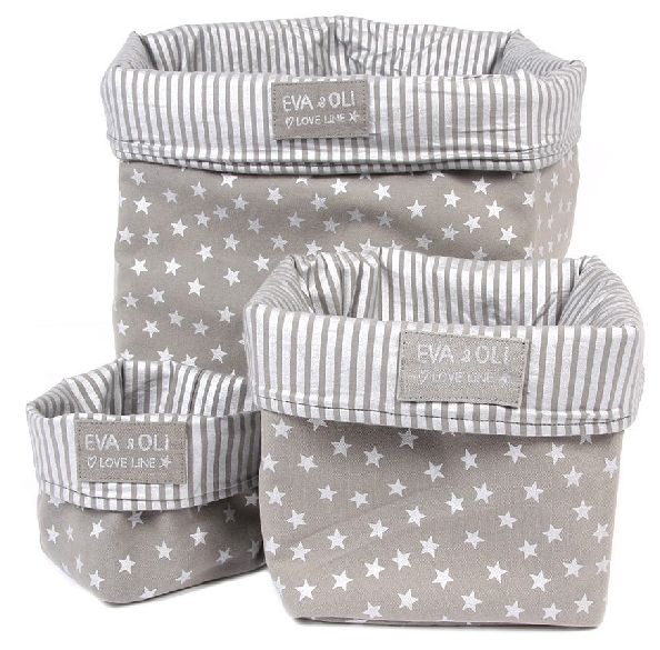 fabric storage bins - three sizes. Nice color combination.