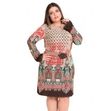 9abe36c74 Plus Size Vestido Evasê Cashmere Quintess   Roupas Plus Size ...