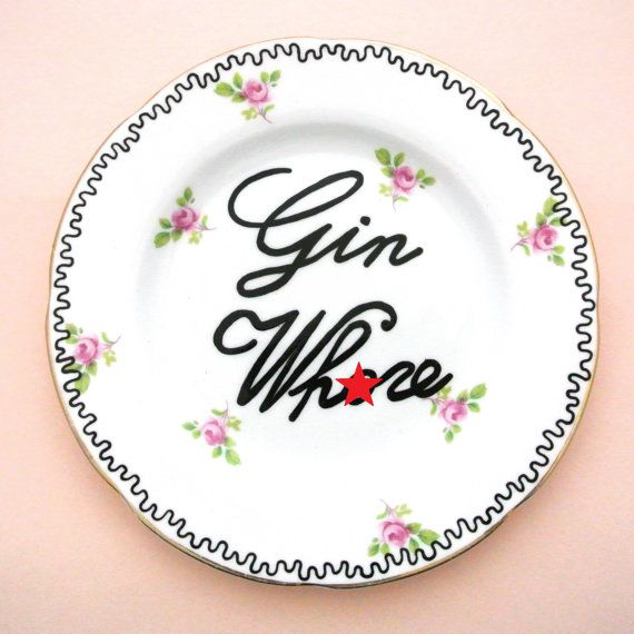 Gin Wh*re Plate Gin and Tonic Gift for Her Alcohol Present Mature Content Adult Drinking Age 21st 18th Birthday Funny Floral Ring Dish Pink