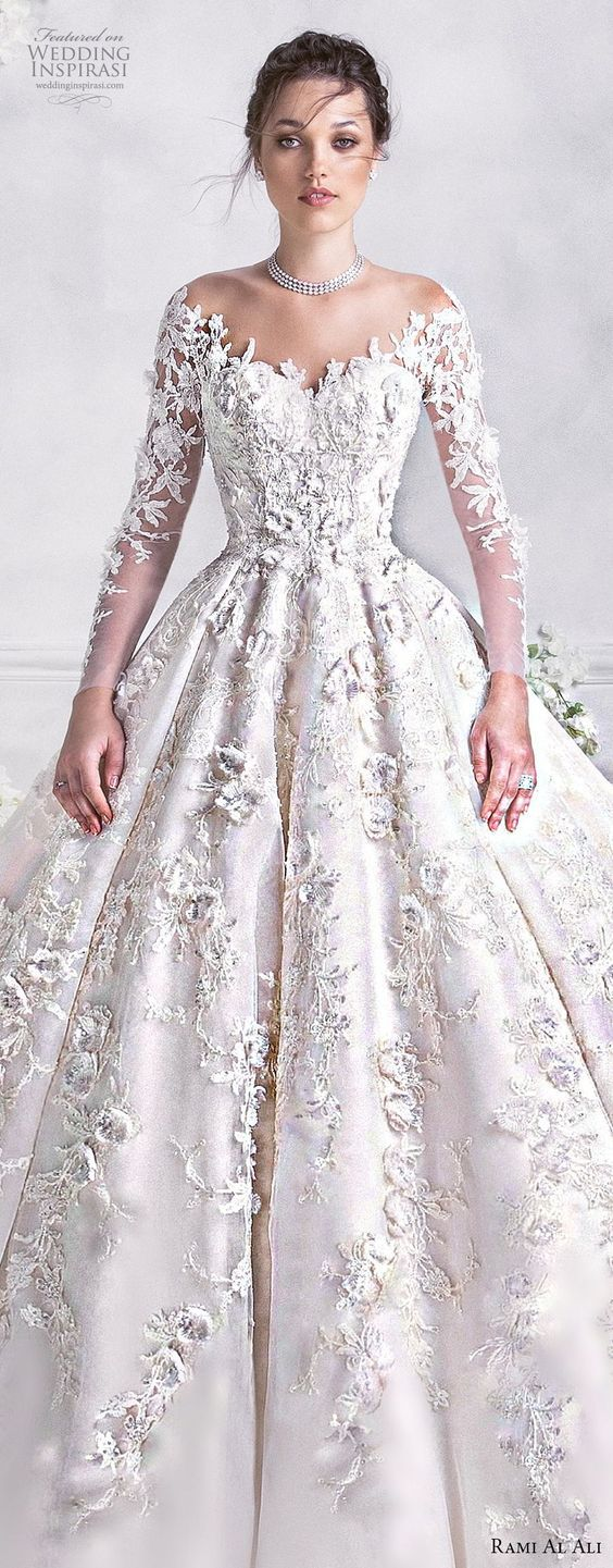 rami al ali 2018 bridal long sleeves off the shoulder sweetheart neckline full embellishment princess ball gown a line wedding dress royal train (1) lv
