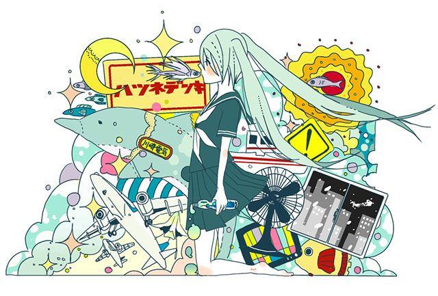 イルカやトビウオや飛行機と初音ミクの可愛いイラスト壁紙画像