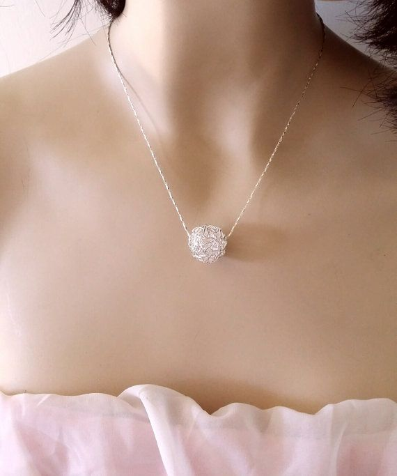 silver plated MESH ball - necklace