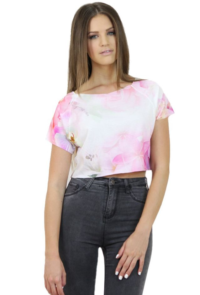 Exotic Floral Crop Top- www.famevogue.ro - add an exotic air to your festival outfits with this item...:)  #croptop #floral #top #fashion #style