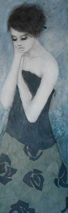 carine bouvard © peinture 2014 Ne plus s'inquiéter II technique mixte sur toile 30/90