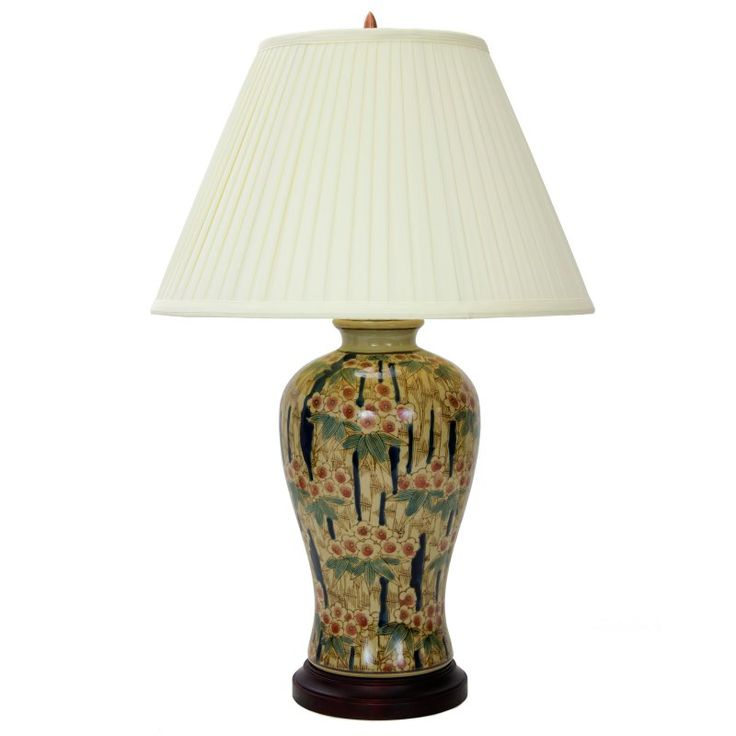 Oriental Furniture Glazed Bamboo Blossom Vase Table Lamp   JCO X8818 8902