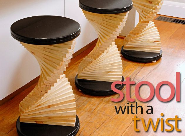 Stools with a twist - Turn your timber offcuts into a versatile piece of furniture that you can use as a stool, side table or a stand. Whichever way you use this piece, it'll be a show stopper.