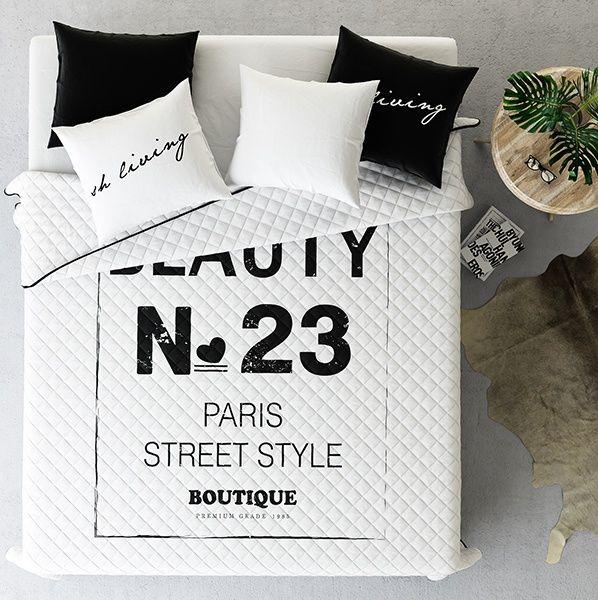 Biele prikrývky na posteľ vo vzore Paris style