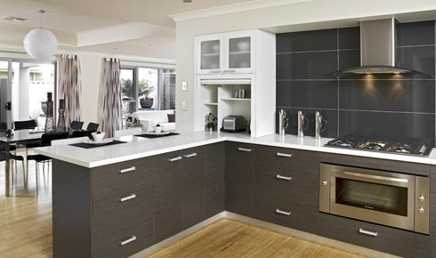 Kitchen, grey and stainless