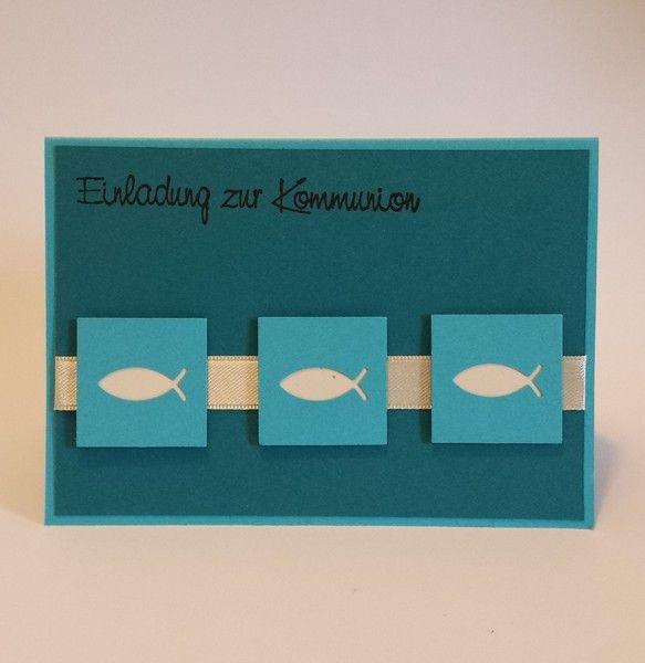 Einladung Kommunion-Konfirmation | Fisch von Stempeldorf auf DaWanda.com