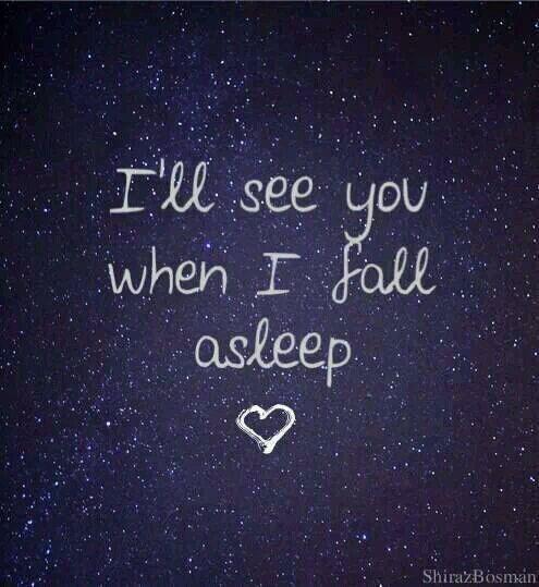 I'll see you when I fall asleep...