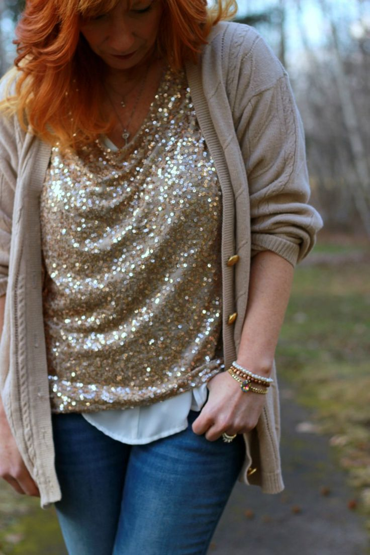 Fashion Fairy Dust style blog: sequin top, cowboy boot, skinny jeans