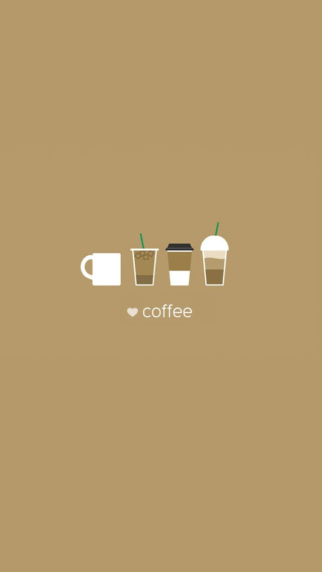 Coffee Cups Flat Minimal Illustration iPhone 5 Wallpaper