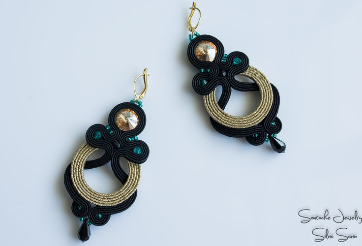Black and gold soutache earrings with Swarovski