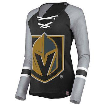 Majestic Vegas Golden Knights Women s Black Gray Raglan Long Sleeve T-Shirt   vgk aed14d7cb