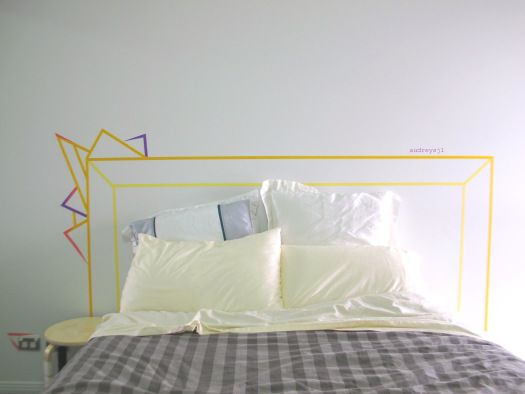 Washi tape headboard with a bit of funk.