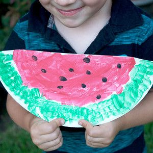 "Watermelon Slices: Preschoolers will have great fun making these ""watermelon slices"" from paper plates. This is a great project to do with kids for a Letter W theme, or on National Watermelon Day."