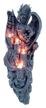 Gothic Dragon Furniture | Dragon Castle Art with 4 Medieval Castle Candle Holders