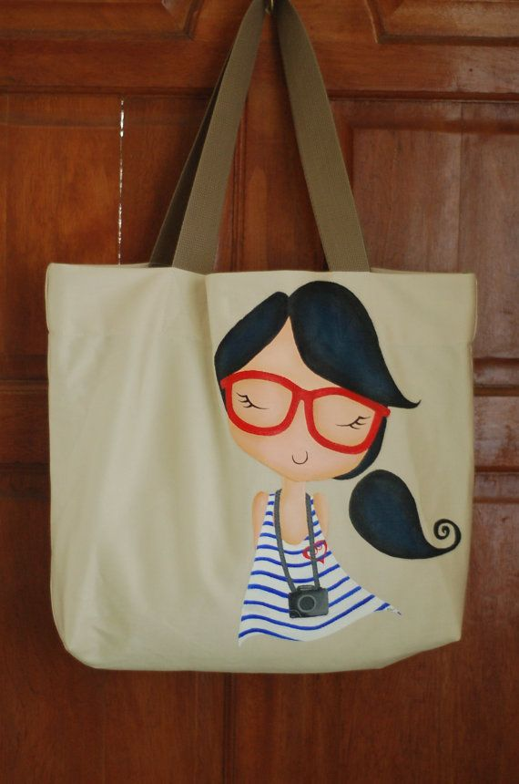 Fuschia Girl Camera Art Tote Bag 100 New by fuschia8 on Etsy, $36.95