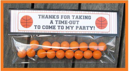 Basketball treat bag topper