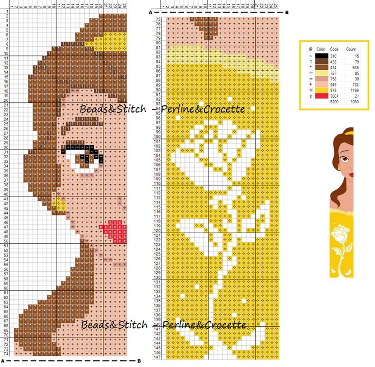 Cross stitch chart Disney Princess Belle bookmark ( Beauty and the Beast )