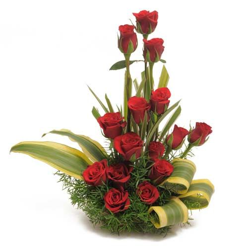 Here is a bunch of gorgeous premium long-stem red roses, hand-crafted in a basket and delivered to their door in an ultimate romantic gesture. The basket is arranged with 15 red roses with green dracaena leaves & green fillers. This can turn into the most beautiful and precious gift for your loved ones. http://www.fnp.com/flowers/the-sweet-surprises/--clI_2-cI_1014-pI_27434.html