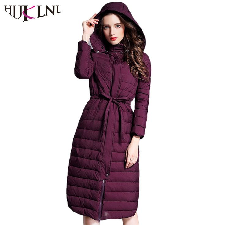 HIJKLNL camperas de pluma Long Ultra Light Down Jackets for Women 17 Winter Feather Duck Down Puffer Jacket Hooded Parka QN470