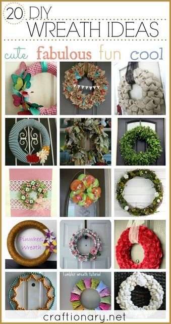 DIY wreaths. Great ideas and tutorials to make fabric and paper wreaths. Creative ways to decorate with wreath for spring, summer, all seasons, winter, fall