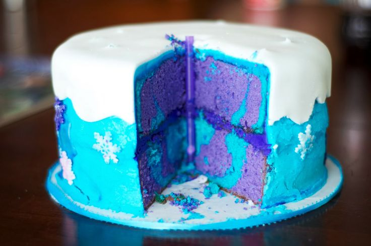 Inside Frozen cake (do dark and light blue OR white and blue instead of purple)