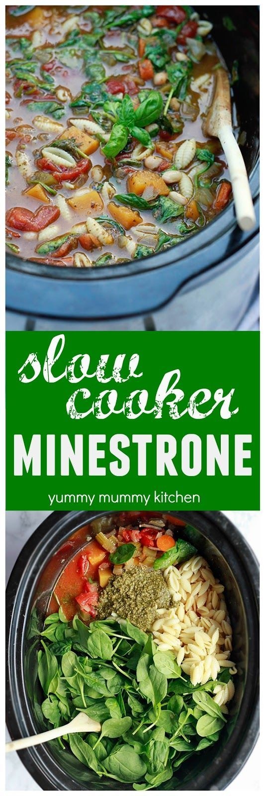 slow cooker vegetarian minestrone soup is an easy healthy recipe the whole family will love
