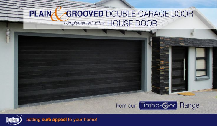 A plain Horizontal but not really! This meranti Horizontal Plain & Grooved Style Double garage door from our Timba-dor™ Range, is manufactured using slats alternating between plain slats and slats with horizontal grooves machined into the timber. To accompany the stylish garage door the home owner opted for a matching pivot house door to add to the curb appeal of their home.  www.doorzonesa.com