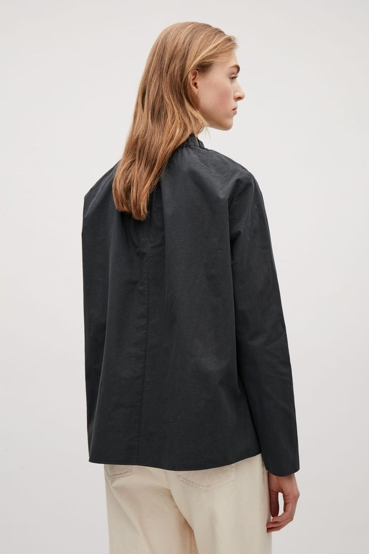 COS Top with elastic neckline in Black
