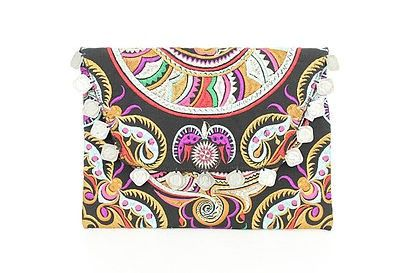 EtanaBoho Luxe Clutch - this fun piece features a tribal pattern clutch adorned with vintage coin embellishments. Large enough to fit an ipad but snug enough to use for a night out on the town or coffee with the girls. Multi coloured embroidery on black.